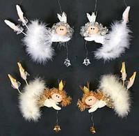 """Новогодние украшения из ткани с пухом 20 см  """"Ангел"""" 12 шт в упаковке"""