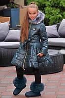 Детское тёплое длинное зимнее пальто куртка с капюшоном и мехом на девочку тёмно-зелёное 134 140 146 152