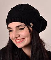 Теплый  вязаный женский берет в черном цвете