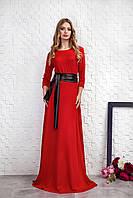 Длинное женское платье с поясом, красного цвета