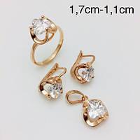 Набор Архелия белая серьги + кольцо+ кулон, размер кольца 18, 19