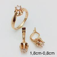 Набор Веста серьги + кольцо, размер кольца 19, 20, 21