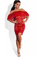 Гипюровое платье с открытыми плечами красное