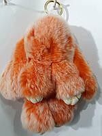 Оранжевый брелок из меха- кролик 20 см. Меховые брелки для ключей и сумок оптом 76