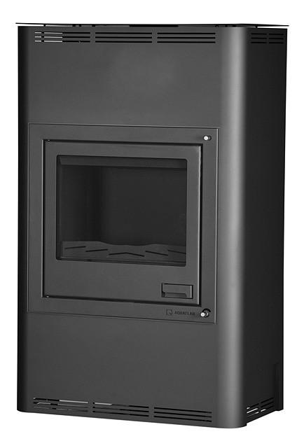 Отопительная печь-камин длительного горения AQUAFLAM 25 (водяной контур, полуавтомат, черный)