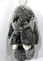 Серые кролики 20 см- брелки из натурального меха. Меховые брелки для ключей и сумок оптом 78