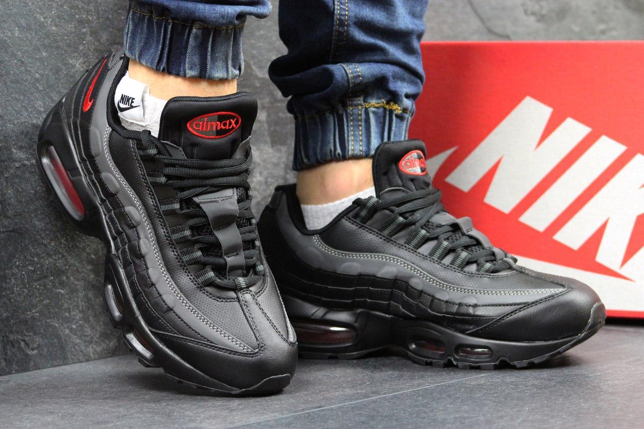 Высокие кроссовки Nike air max 95, черные с серым 44р