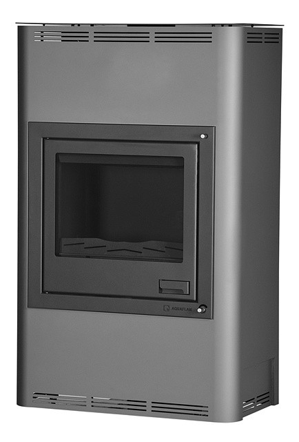 Отопительная печь-камин длительного горения AQUAFLAM 25 (водяной контур, полуавтомат, серый)