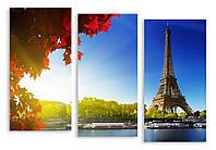 Модульная картина Эйфелева Башня и листья