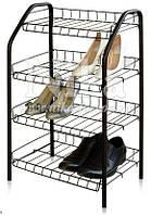 Этажерка для обуви ЭТ2 разборная на 4 полки. Основа - металлокаркас.  Размеры (ВхШхГ) 700х465х300 мм.