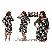 Платье женское большого размера  цветочный принт+украшение MNV-356-1 темно-зеленый