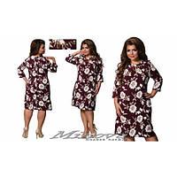Платье женское большого размера  цветочный принт+украшение MNV-356-1 бордовый