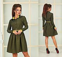 платье-рубашка с юбкой клеш и  поясом