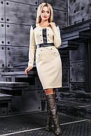 Женское приталенное трикотажное платье с кожаными вставками в разных цветах