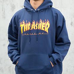 Толстовка тёмно синяяThrasher mag | худи Трешер | кенгуру трашер