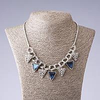 Колье с синими кристаллами Треугольники L- 55 см