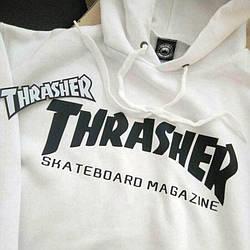 Толстовка белая Thrasher Skateboard | худи Трешер | кенгуру трашер