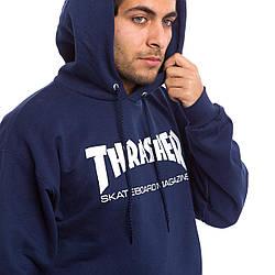 Толстовка тёмно синяя Thrasher Skateboard | худи Трешер | кенгуру трашер