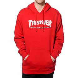 Толстовка красная Thrasher | худи Трешер | кенгуру трашер