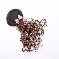 Заколка детская Шляпка черная с шиньоном d-8см