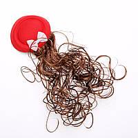 Заколка детская Шляпка красная с шиньоном d-8см