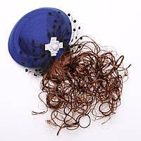 Заколка детская Шляпка синяя с шиньоном d-13см