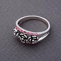 Кольцо Плетистая роза в розовых стразах 17,18,19