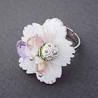 """Кольцо """"Перламутровый цветок"""" без р-р d-2,7см"""