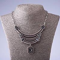 Колье в античном стиле серебристый металл L-45см