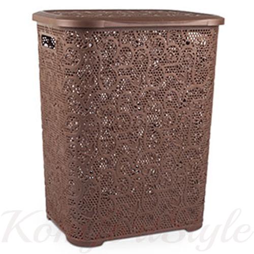 Корзина для белья с крышкой Кружево 45 литров цвета в ассортименте