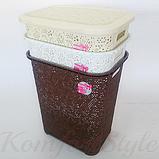 Корзина для белья с крышкой Кружево 45 литров цвета в ассортименте, фото 2