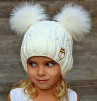 Зимняя шапка для девочки Злата, балабоны из песца (ОГ 46-52, 52-58)