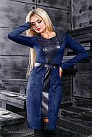 Женское замшевое приталенное платье с кожаными вставками в разных цветах