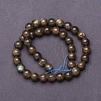 Бусины натуральный камень на нитке Лабрадор d-10мм L-37см