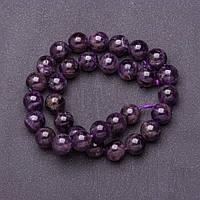 Бусины натуральный камень на нитке Аметист фиолетовый d-12мм L-37см