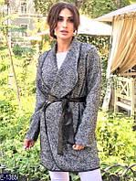 Шерстяное пальто Шанель с брошью гусиная лапка, батал. Арт-10183