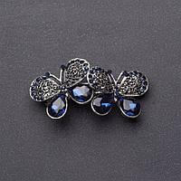 Заколка для волос Бабочки с темно синими кристаллами серебристая L-6.5см автомат