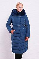 Сине-серая удлиненная Женская куртка с мехом и капюшоном большой размер 52,54,56,58,60
