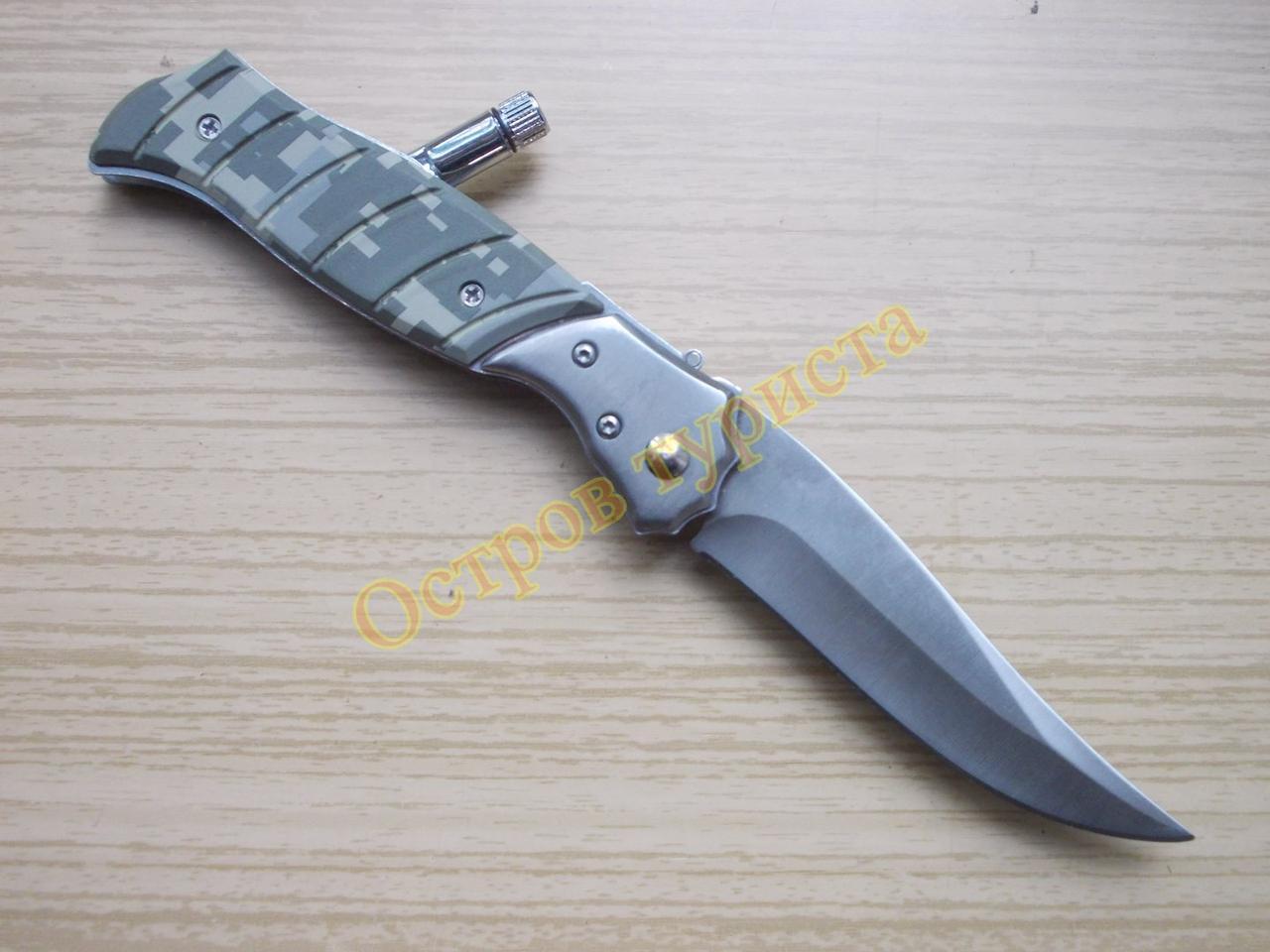 Нож выкидной 388 средний с фонариком камуфляж