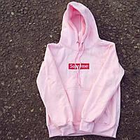 Supreme Pink Худи женская • Бирка • Розовая толстовка Суприм
