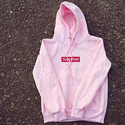 Толстовка розовая Supreme Pink | худи суприм | кенгурушка супреме