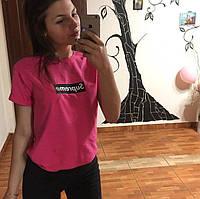 Футболка Supreme | Розовая женская | Бирка оригинальная