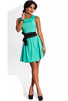 Платье бэби-долл из бенгалина ментоловое