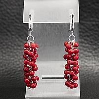 Коралл красный, серебро 925, серьги гроздь, 265СРК