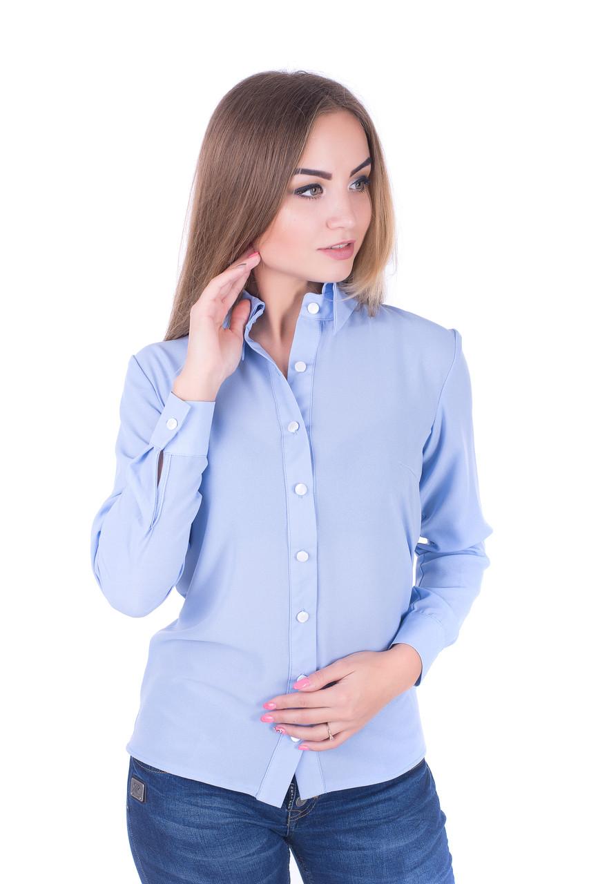 Женская  блуза  делового стиля в голубом цвете, фото 1