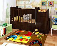 """Кроватка трансформер для новорожденных+маятниковый механизм+пеленальный столик+ящики """"Классика"""" (орех лесной)"""