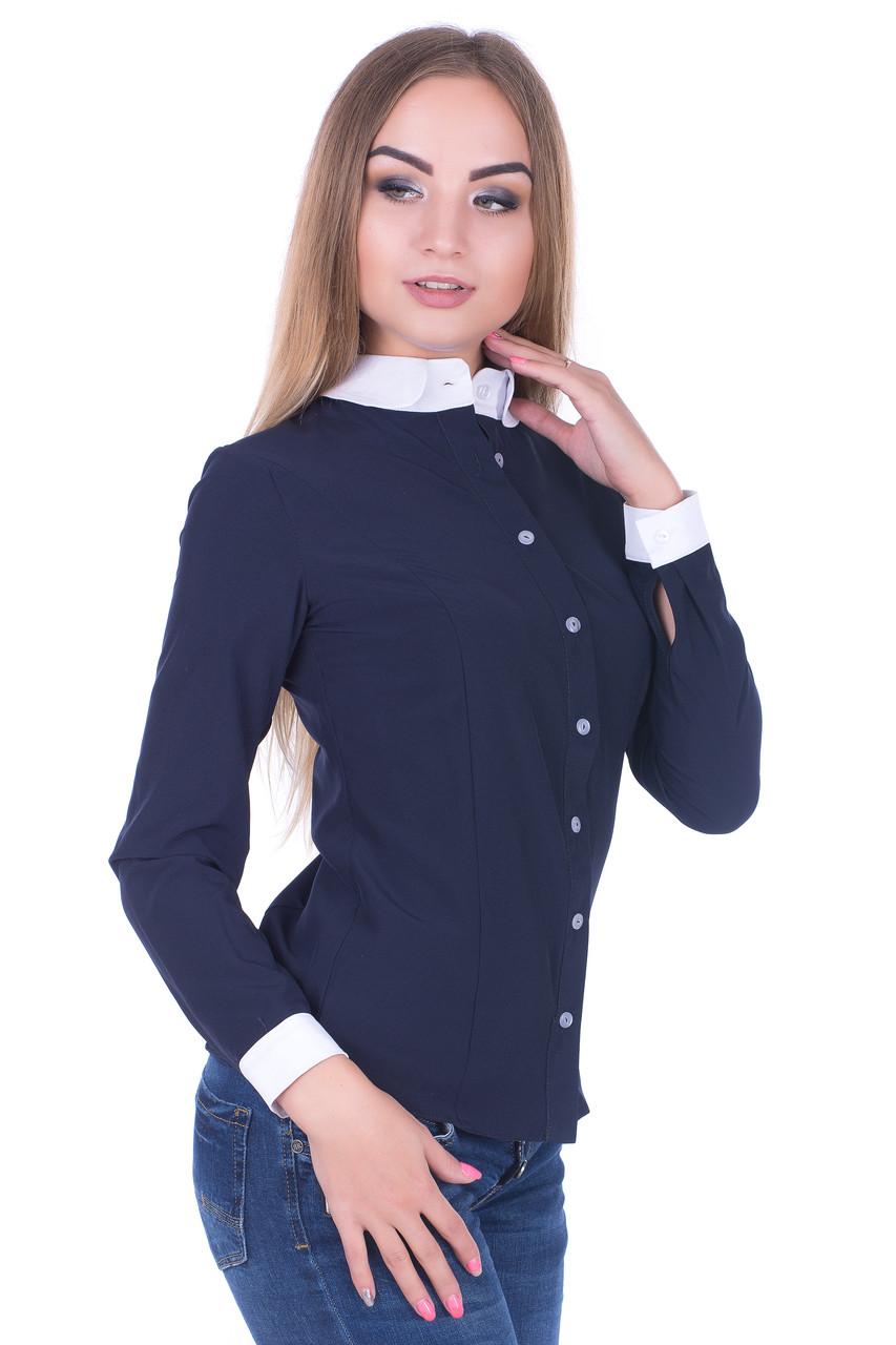 Блуза женская с белым воротником и манжетами