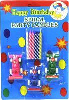 """Набор праздничных свечей для торта с подставкой в форме машинок  """" Гонки """" 3+6 шт."""