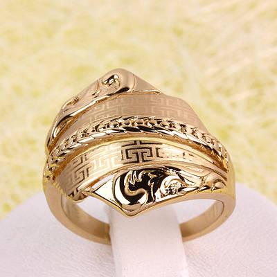 002-2752 - Позолоченный перстень с лазерной гравировкой, 17, 18, 18.5 р