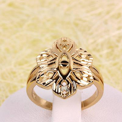 R1-2755 - Позолоченный перстень ажурный цветок, 17, 18, 18.5 р